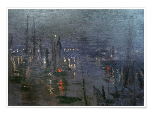 Premium poster Harbour of Le Havre at night