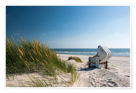 Premium poster  Beach with dunes and beach grass - Reiner Würz RWFotoArt