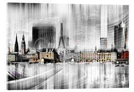Acrylic print  Hamburg Skyline, Germany - Städtecollagen