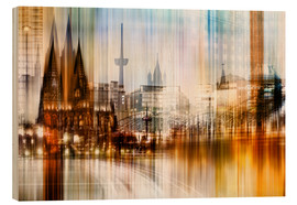 Wood print  Germany Collonge Köln skyline - Städtecollagen