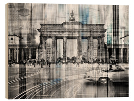 Wood print  Berlin Cityscape Brandenburger Tor - Städtecollagen