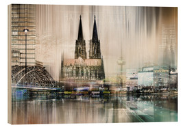Wood print  Abstract skyline in Cologne, Germany - Städtecollagen