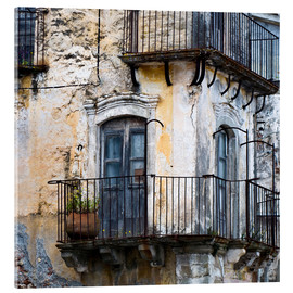 Acrylic glass  Medieval facade in the Sicilian mountain village Forza d'Agro - CAPTAIN SILVA