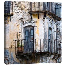 Canvas print  Medieval facade in the Sicilian mountain village Forza d'Agro - CAPTAIN SILVA