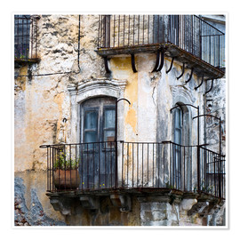Premium poster  Medieval facade in the Sicilian mountain village Forza d'Agro - CAPTAIN SILVA