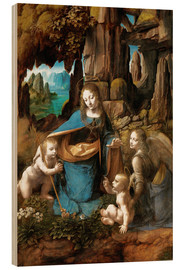 Wood print  The Virgin of the Rocks - Leonardo da Vinci