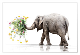 Premium poster Elephant with Flower