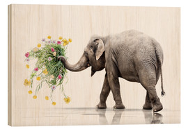 Wood print  Elephant with Flower - Werner Dreblow