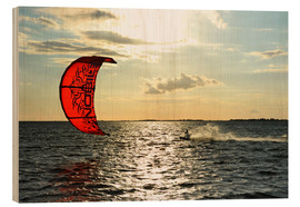 Wood print  Kite surfers on the high seas - HADYPHOTO