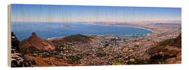 Wood print  Cape Town panoramic view - HADYPHOTO