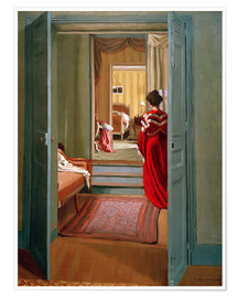 Premium poster Interior with woman in red