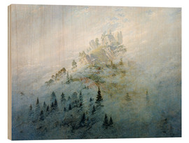 Wood print  Morning mist in mountains - Caspar David Friedrich