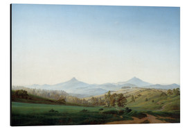Alu-Dibond  Bohemian landscape with the Milleschauer - Caspar David Friedrich