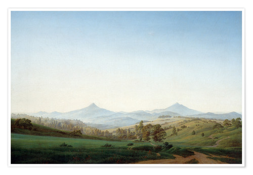 Premium poster Bohemian landscape with the Milleschauer