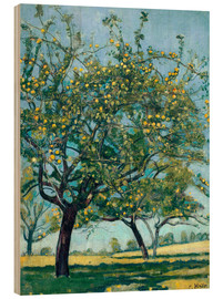 Wood print  Paddock with apple trees - Ferdinand Hodler