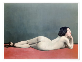 Premium poster  Reclining Nude on red carpet - Felix Edouard Vallotton
