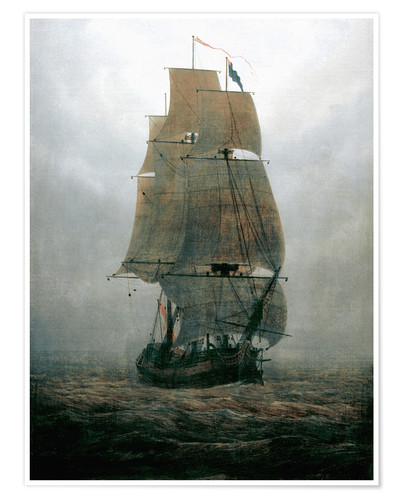 Poster Sailing ship in the fog
