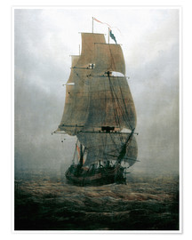 Premium poster Sailing ship in the fog