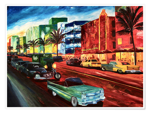 Premium poster Miami Ocean Drive with mint Cadillac