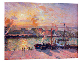 Acrylic print  Sunset at Rouen - Camille Pissarro