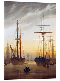 Acrylic glass  View of a harbor - Caspar David Friedrich