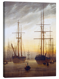 Canvas  View of a harbor - Caspar David Friedrich