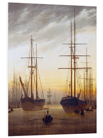 Foam board print  View of a harbor - Caspar David Friedrich