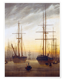 Premium poster  View of a harbor - Caspar David Friedrich