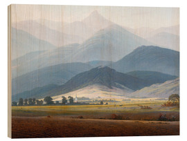 Wood print  Giant Mountain Landscape - Caspar David Friedrich