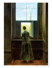 Premium poster  Woman at the window - Caspar David Friedrich