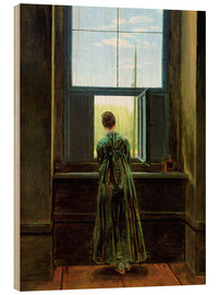 Wood print  Woman at the window - Caspar David Friedrich