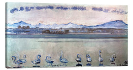Canvas print  Lake Geneva with nine swans - Ferdinand Hodler