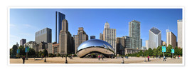 Premium poster  Panorama Millenium Park in Chicago mit Cloud Gate - HADYPHOTO