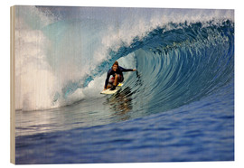Wood print  Surfing blue paradise island wave - Paul Kennedy