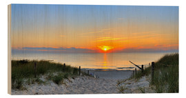 Wood print  Sunset Panoramic at the beach - FineArt Panorama