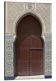 Aluminium print  Wooden door in decorated archway - Nico Tondini