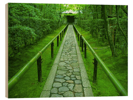 Wood print  Stone path with bamboo railing - Shin Terada