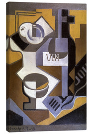 Canvas print  Still life with wine bottle - Juan Gris