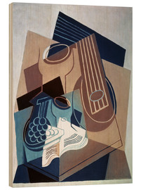Wood print  Mandolin and grapes - Juan Gris