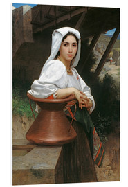Foam board print  Young Italian Girl at a well - William Adolphe Bouguereau