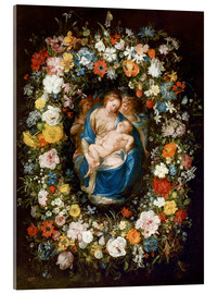 Acrylic print  Flowers wreath with virgin, child and two angels - Jan Brueghel d.Ä.
