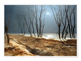 Premium poster Landscape in Winter at Moonlight