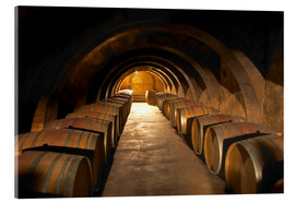 Acrylic print  Wine cellar with wine barrels - Per Karlsson