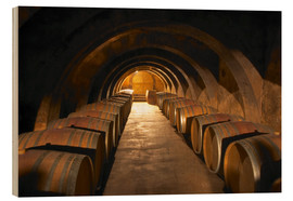 Wood print  Wine cellar with wine barrels - Per Karlsson