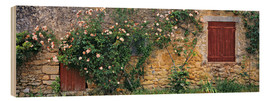 Wood print  Climbing roses on old stone wall - Ric Ergenbright