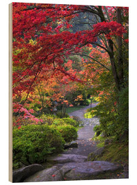 Wood print  Path in a Japanese garden - Janell Davidson
