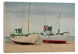 Wood print  Fishing boats in Løkken, Denmark - HADYPHOTO