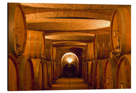 Aluminium print  Wine cellar with wine barrels - Alison Jones