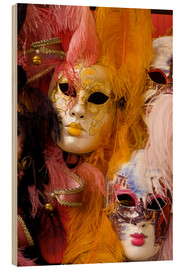 Wood print  Colorful carnival masks - Bill Bachmann