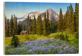 Wood print  Wildflowers at Mount Rainier - Raymond Klass
